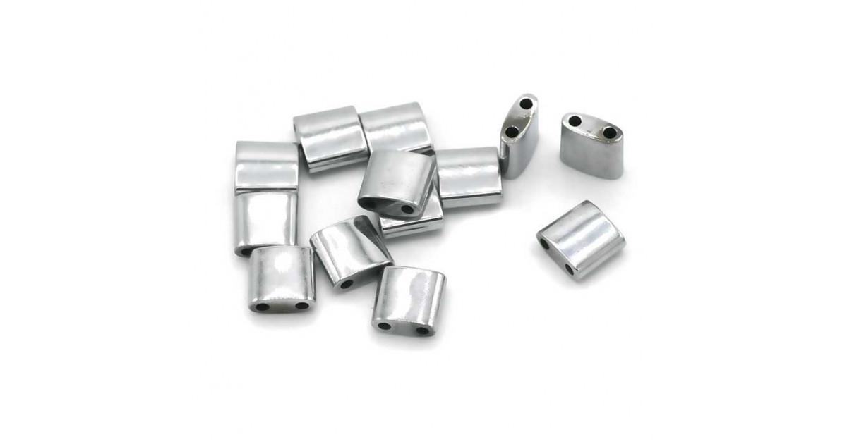 Hematite Tila 2-trous 5*5mm Rhodium