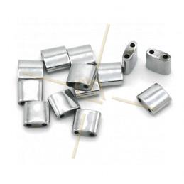 Hematiet Tila 2-gaatjes 5*5mm Rhodium