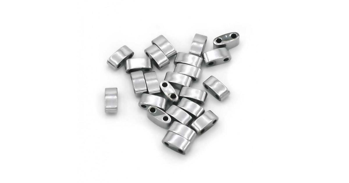 Hematite Half Tila 2-trous 3*5mm Rhodium