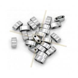 Hematiet Half Tila 2-gaatjes 3*5mm Rhodium