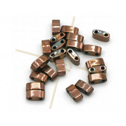 Hematiet Half Tila 2-gaatjes 3*5mm Rose Gold Plated