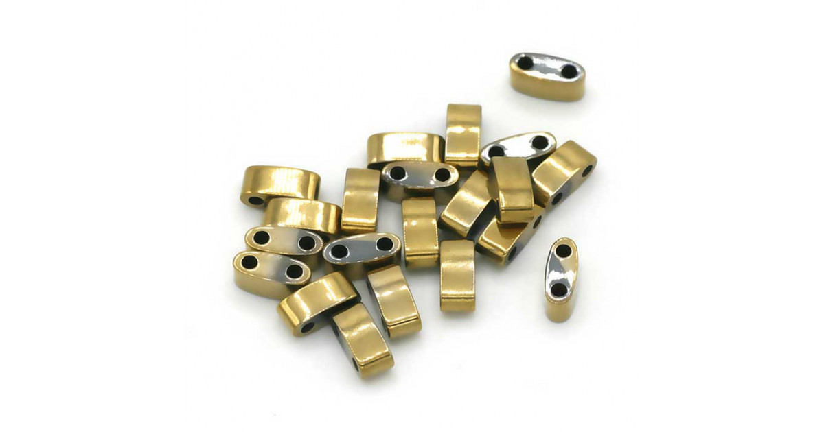 Hematite Half Tila 2-trous 3*5mm Gold Plated