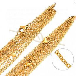 Collier acier 48cm avec fermoir musqueton Gold Plated