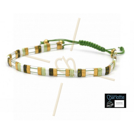Kit bracelet with Miyuki Quarter + Half + Tila with macramé clasp Green white gold