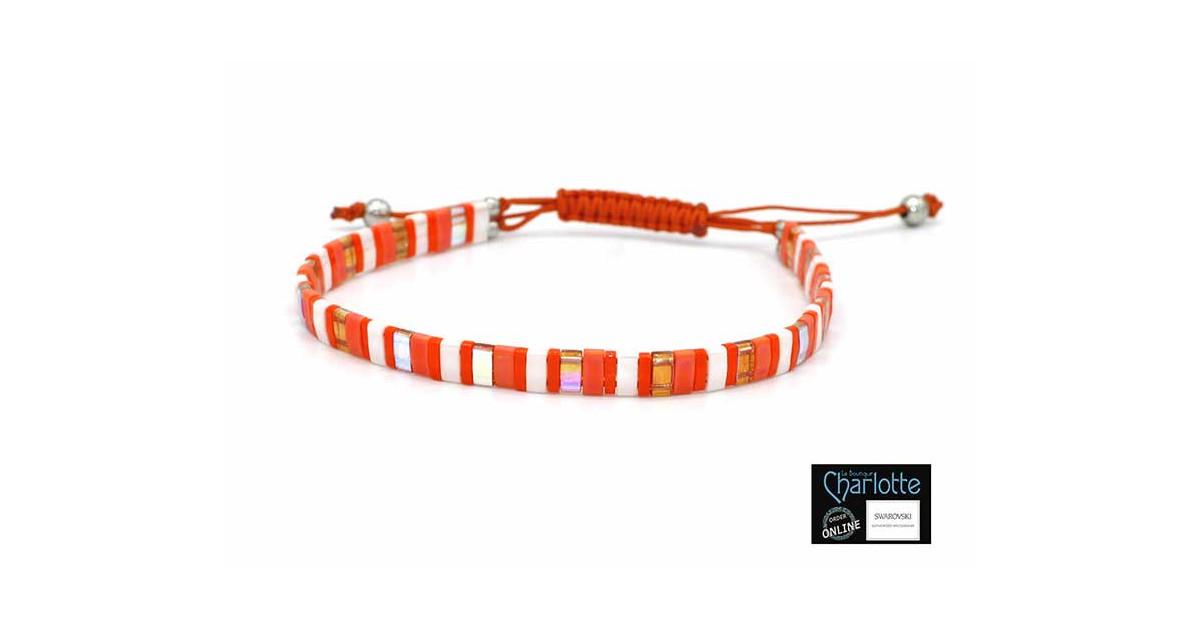 Kit bracelet with Miyuki Quarter + Half + Tila with macramé clasp Orange