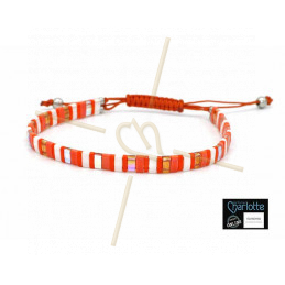 Kit bracelet with Miyuki Quarter + Half + Tila with macramé clasp Orange