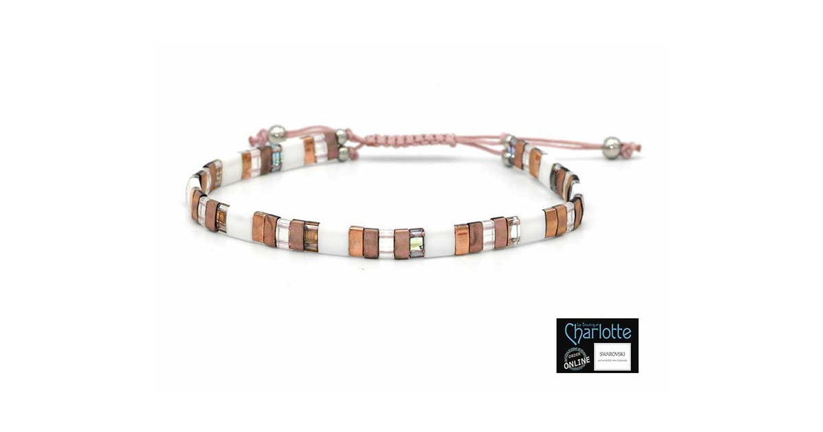 Kit bracelet with Miyuki Quarter + Half + Tila with macramé clasp Rose gold