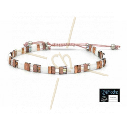 Kit bracelet with Miyuki Quarter + Half + Tila with macramé clasp Rose gold