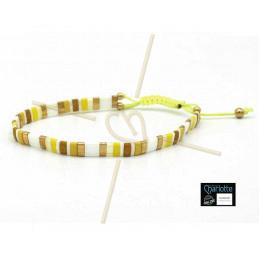 Kit bracelet avec Miyuki Quart + Demi + Tila en macramé fermoir Jaune Vif