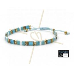 Kit armbandje met Miyuki quart + half + Tila met macramé sluiting Beige blauw