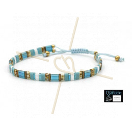 Kit bracelet with Miyuki Quarter + Half + Tila with macramé clasp Canard Cream