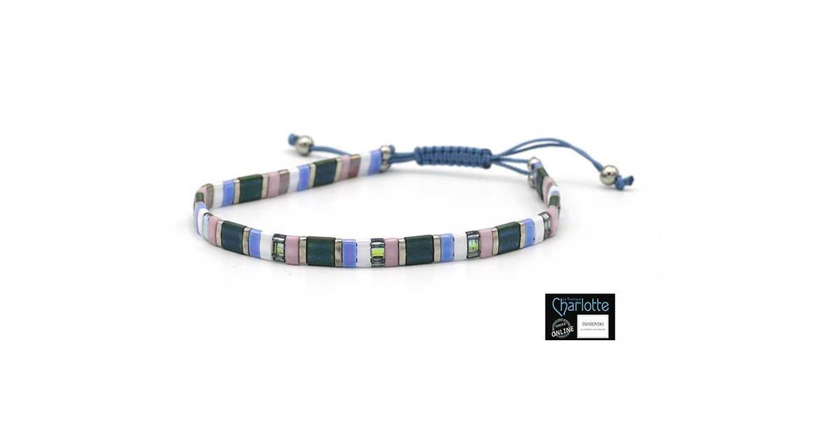 Kit bracelet with Miyuki Quarter + Half + Tila with macramé clasp Pink Blue Rainbow