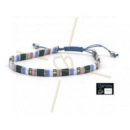 Kit bracelet avec Miyuki Quart + Demi + Tila en macramé fermoir Pink Bleu Rainbow