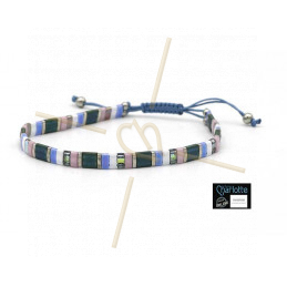 Kit bracelet with Miyuki Quarter + Half + Tila with macramé clasp Pink Blue Rainbow