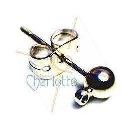 boucle d'oreille boule 4mm + anneau