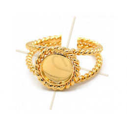 Ring regelbaar Gold plated met plateau rond 8mm