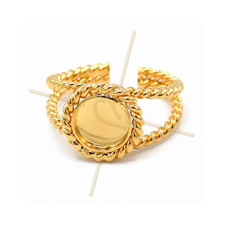 Ring adjustable with disc 8mm Gold Plated