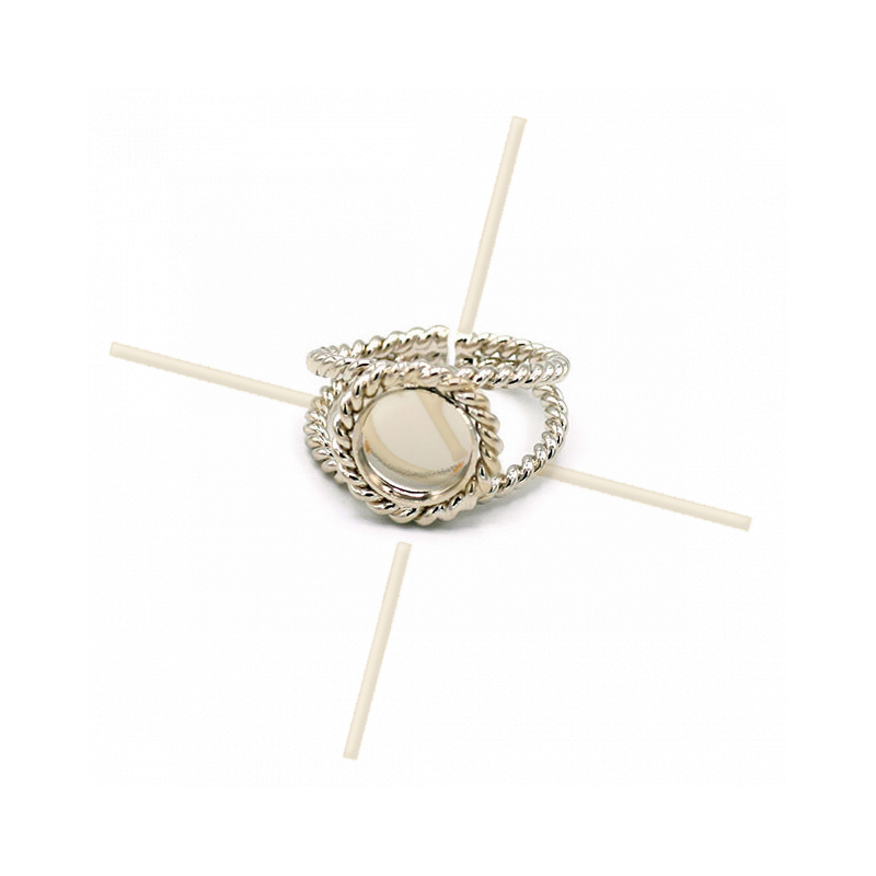 Ring adjustable with disc 8mm Rhodium