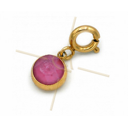 Charms Stainless Steel with clasp and Swarovski Strass Fuchsia