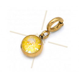Charms Stainless Steel with clasp and Swarovski Strass Yellow