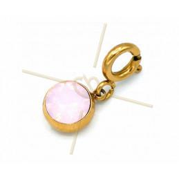 Charms acier inoxydable avec attache et strass Swarovski Rose Water Opal