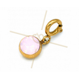 Charms Stainless Steel with clasp and Swarovski Strass Rose Water Opal