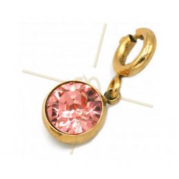 Charms edelstaal met slotje en Swarovski strass Rose