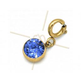 Charms edelstaal met slotje en Swarovski strass Sapphire