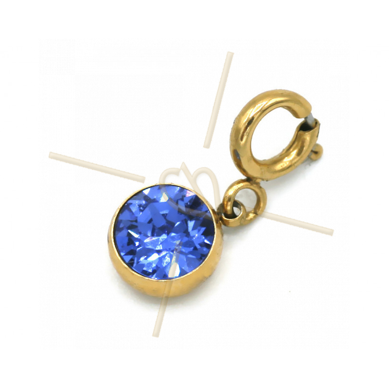 Charms acier inoxydable avec attache et strass Swarovski Sapphire