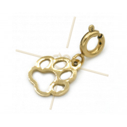Charms edelstaal Gold Plated Hondenpoot met slotje