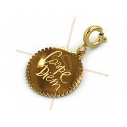 Charms Stainless Steel Gold Plated Carpe Diem with clasp