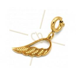 Charms edelstaal Gold Plated Vleugel met slotje