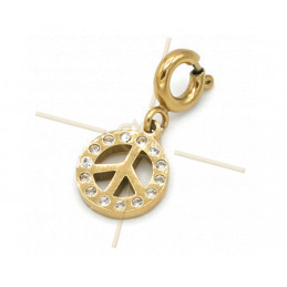Charms Stainless Steel Gold Plated Peace with clasp