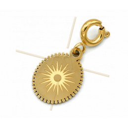 Charms Stainless Steel Gold Plated Sun oval with clasp