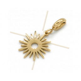 Charms Stainless Steel Gold Plated Sun with clasp
