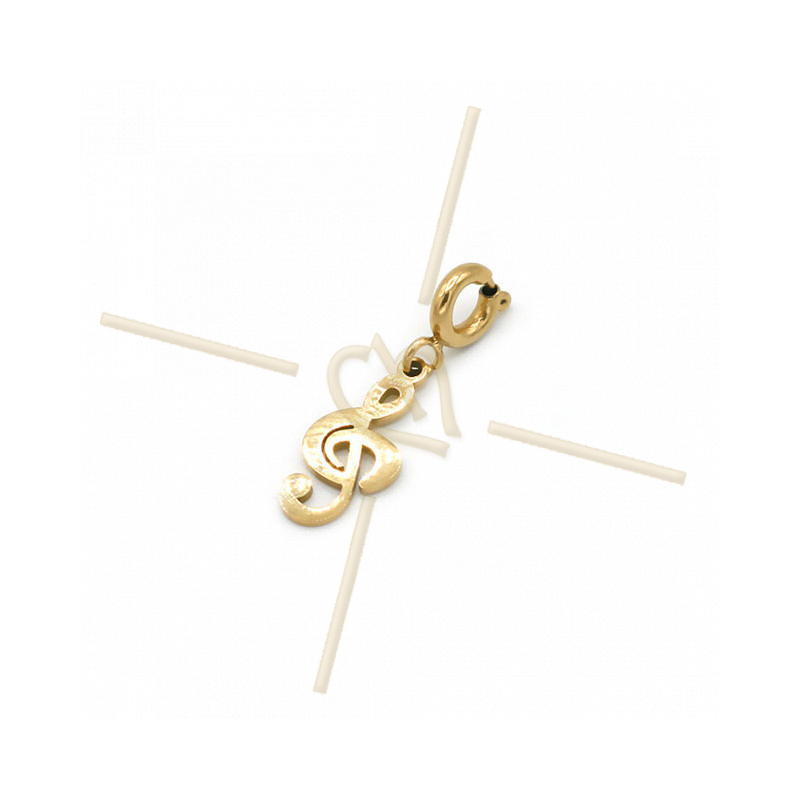 Charms Stainless Steel Gold Plated Treble Clef with clasp