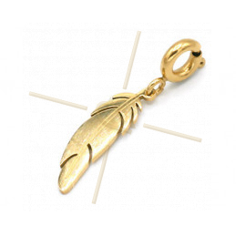 Charms Stainless Steel Gold Plated Feather with clasp