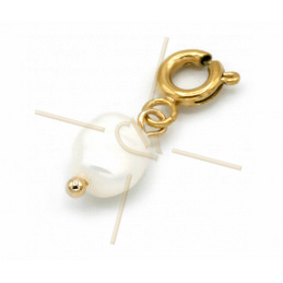 Charms Stainless Steel Gold Plated pearl ball with clasp