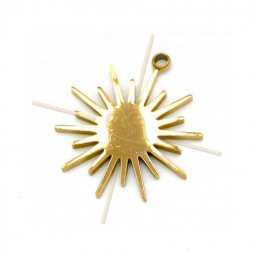 Charms acier inoxydable Gold Plated Sun 14mm