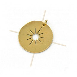 Charms acier inoxydable Gold Plated Sun 16mm