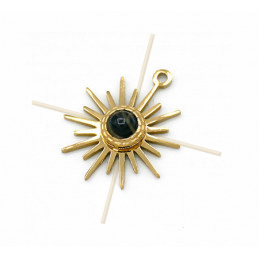 Charms acier inoxydable Gold Plated Sun 15mm avec pierre central