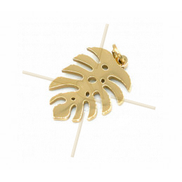 Charms acier inoxydable Gold Plated feuille 13mm