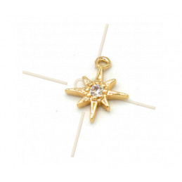 Charms Gold Plated Star 8mm with Crystal Strass