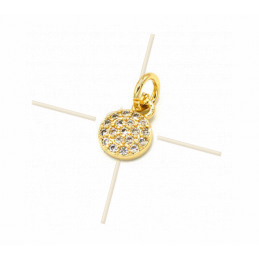 Charms Gold Plated round 8mm with Crystal Strass