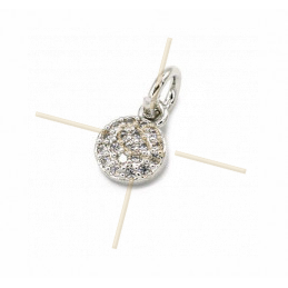Charms Rhodium  round 8mm with Crystal Strass