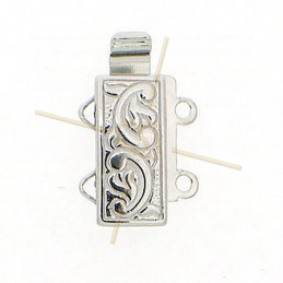 Sliding Clasp 2-row Rhodium plated 12*6mm