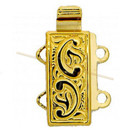 Sliding Clasp 2-row Gold plated 12*6mm