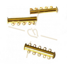 Clasp slider 5-row tube gold