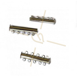 Clasp slider 5-row tube Rhodium