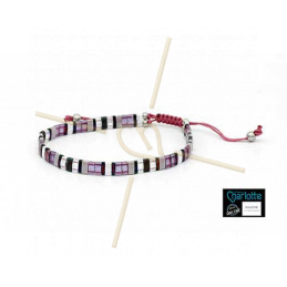 Kit Bracelet with Miyuki quart + half + Tila with macramé clasp Purple